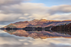 Derwent Water Three (gmorriswk) Tags: keswick england unitedkingdom gb reflection reflections hills hill mountain mountains tree trees forest landscape lake district drewentwater derwent water clouds long exposure formatt hitech firecreset