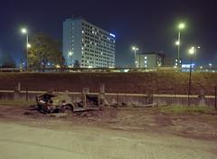 Katowice, Poland. (wojszyca) Tags: fuji gsw680iii 6x8 120 mediumformat fujinon sw 65mm kodak portra 400 epson v800 night longexposure wreck burned car city urban katowice