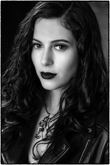 Andy. (drpeterrath) Tags: portrait people model actress celebrity woman female lady girl bw goth brunette blackwhite indoor studio profoto