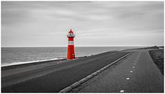 Lighthouse (El.buitre) Tags: 2018 holland niederlande sommer sonya6000 urlaub alpha6000 lighthouse netherlands landscape sea beach street road selective bw monochrome holiday grey dull clouds