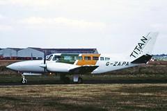 G-ZAPA Cessna 404 Titan Titan Airways CVT 27-06-89 (cvtperson) Tags: gzapa cessna 404 titan airways coventry cvt egbe