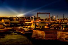 Twilight (Maria Eklind) Tags: autumn sunbeam twilight bridge bro gothenburg göteborg water sky sweden outdoor himmel älvsborgsbron höst city västragötalandslän sverige se
