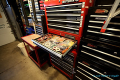 The Shop, No 2 (Walt Snyder) Tags: canoneos5dmkiii canonef1635mmf28liiusm metal machineshop industrial craftsman drawers toolbox red culture equipment usa