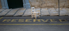 Reserved (LeeDylanLeeDyl) Tags: adobe lightroom lr 18 35mm 35 d3300 nikon nikkor malta maltese villetta chair parking space reserved slanted