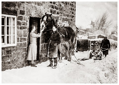 Horse drawn snowplough (Paul Thackray) Tags: yorkshire west riding thorner sandhills horse snowplough 1950s