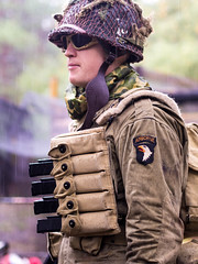 WWII Airsoft/Re-enactment Event - Red Alert Paintball (kltmccormick1991) Tags: airsoft reenactment vintage uniform rifles rifle raining rain woods forest airborne 101st scopes allies axis