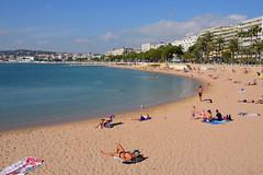 Cannes / Croisette plage (Pantchoa) Tags: cannes france côtedazur plage croisette baie eau sable personne palmiers pins immeubles hôtels nuages bain méditerranée côte mer vacances rivage