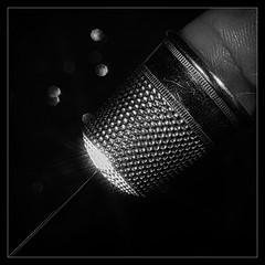 Thimbeline (Silke Klimesch) Tags: macromonday safety lowkey 11 squareformat thimble fingerhut needle embroideryneedle nadel sticknadel black silver monochrome blackandwhite déàcoudre aiguille degetar ac ditale ago dedal aguja agulha alfinete напёрсток игла starfilter sternfilter finger quadratischpraktischgut olympus omd em5markii mzuikodigitaled60mm128macro luminar analogefex microfourthirds makemesmile
