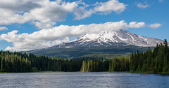 Lazy Sunday Afternoon (Nancy King Photography) Tags: boating clouds pacificnorthwest mthood oregon trilliumlake alpine mountain