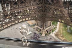 How small they are! In the Eiffel tower, Paris. (EatMyBones) Tags: stuckinplastic figurine miniature paris poseskeleton rement skeleton toy toyphotography toysafari