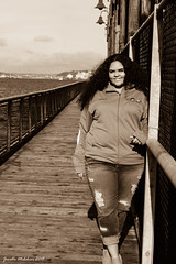 Senior Photo 11/10/18 No 13 (jenelle.melchior) Tags: sepia black white monochrome dock sea ocean water beach girl portrait seattle
