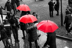Rainy Day at the Rugby (matthewblackwood10) Tags: rainy day rugby umbrella red black white colour rain winter autumn cold grey people walking path