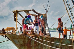 All Aboard (Beegee49) Tags: boat men dog dogs fishing fishermen setting sail panasonic cadiz philippines asia