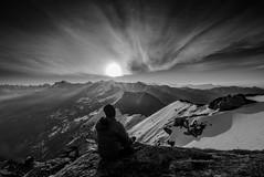 Himalayan Sunrise (anirbanbose) Tags: hill moutain range landscape peak ridge alpenglow snowcapped fog remote terrain sunrise snow ice sun cloud blackwhite clouds himalayas himalaya india