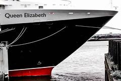 One Very Prowed Queen - Queen Elizabeth, Cunard Liner, Liverpool Pierhead 8.9.11 (bobbex) Tags: merseyside rivermersey boat ship cunard nautical cruiseship cruiseliner 2011