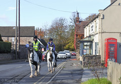 HORSE RIDING in a VILLAGE, S YORKSHIRE_DSC_1354_LR_2.5 (Roger Perriss) Tags: astonbuilding pub nikon1 horses horseriding road village yellowlion inn cottages cars carsheldup blockage slowtraffic riders horseriders ponies phonebox