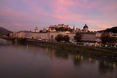 Pink Castle (noname_clark) Tags: vacation europe austria dusk pink salzachriver river water sunset hohensalzburgfortress