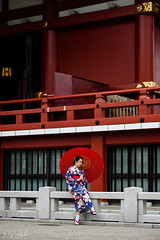 Tradition (D. R. Hill Photography) Tags: japan asia eastasia tokyo sensojitemple sensoji temple 浅草寺 buddhism buddhist traditional tradition parasol kimono japanese red travel nikon nikond750 d750 nikon85mmf18g 85mm primelens fixedfocallength portrait candid woman person architecture