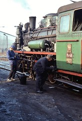Gniezno PKP     1993 (keithwilde152) Tags: px48 px481927 gniezno wask pkp poland 1993 depot yard loco crew operatives servicing steam locomotives outdoor spring sun