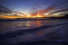 Inferno at the Pier (Omnitrigger) Tags: water sand clouds sky firesky longexposure landscape beach pacific ocean sunset cayucos pier