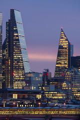 Light Bridge (JH Images.co.uk) Tags: london scalpel night cheesegrater skyline skyscrapers hdr clouds dri architecture bridge train pink illuminated