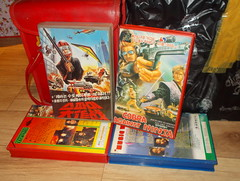 "Seoul Korea vintage VHS  tape cover art for ""Cobra Against Ninja"" and ""Spy Lebanon (?)"" 007 ripoff - ""Ersatz Cunning Linguistics"" (moreska) Tags: seoul korea vintage vhs cover art rare obscure action cobraagainstninja 1987 oldschool spy conspiracy beirut lebanon international intrigue thriller gun explosion 1980s videocassette analogue distributors hangul graphics fonts hanja rentalera clamshell bmovie drivein collectibles archive museum rok asia"