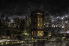 Barton Swing Bridge Tower (Kev Walker ¦ 9 Million Views..Thank You) Tags: architecture barge bridgewatercanal manchester water barton bartonswing bartonswingbridge batonviaduct bridgephotography bridgewater british cadishead canalbridge canalphotography eccles english greatermanchester irlam iron msc old outdoorphotography outdoors past peel sailing salford shipping shippingcanal swingbridge trafford rain night