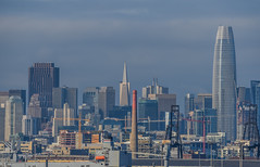 southeast plant (pbo31) Tags: sanfrancisco city california nikon d810 color urban december 2018 boury pbo31 bayview hunterspoint over view salesforce skyline industrial rooftops blue transamerica construction cranes