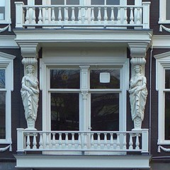 Pure Maidens. Caryatid Balcony, Oudezijds Voorburgwal 131, Amsterdam, The Netherlands (Rana Pipiens) Tags: oudezijdsvoorburgwal131amsterdamthenetherlands davidabrahamhamburger abrahamdavidhamburger rollingmill foundry zinc metal lead caryatid balcony building remigiusrichardusdebruin rrdebruijn white purity neorenaissancestyle maidens rex rrbruyn