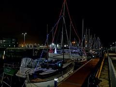 Festive Lights (mcginley2012) Tags: boat docks galway ireland cameraphone p20pro huawei light night lights harbour boardwalk