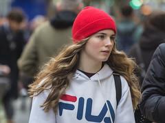 The girl with the red cap (Frank Fullard) Tags: frankfullard fullard candid street portrait red cap hair fila dublin irish ireland girl lady beauty beautiful cailin