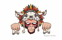 Print Patch WON MONKEY, Großes Bügelbild zum aufbügeln (patchmonkeys) Tags: patch bügelbild comic roll style stil young skull applikation fashion aufbügler street urban symbol livestyle spas streetwear print druck design feder transfer affe voodoo horn