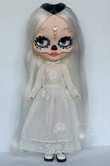Monochromatic Calavera in white (Art_emis) Tags: monochromatic calavera white custom blythe doll ooak handmade hand painted carved forehead tattoo teeth black cassiopeia spice photography artemis collectible toys art work