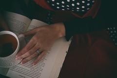 A Moment of Calm (flashfix) Tags: november202018 2018inphotos flashfix flashfixphotography ottawa ontario canada nikond7100 40mm portrait female dress book novel hand ring tea cup mug polkadots