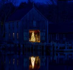 Christmas Glow (arlene sopranzetti) Tags: christmas tree kennebunkport maine holiday prelude 2018 blue hour dock barn decorations reflection