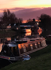 Evening Walk by the Canal (judy dean) Tags: judydean 2019 gloucester canal towpath sunset walk evening barges houseboats industrial