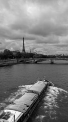 Seine (MAKER Photography) Tags: smartphone phone lg g3 water river seine paris france eifel tower bridge boat waves tree house people black white monochrome greyscale clouds sky