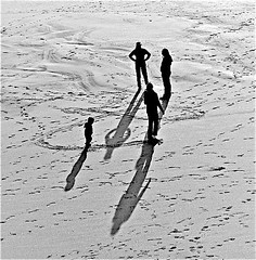 A Story In Black and White (sswj) Tags: california leica sun pacificocean beach shadows people astory monochrome blackandwhite bw availablelight existinglight leicadlux4 composition halfmoonbay sanmateocounty northerncalifornia scottjohnson abstraction abstractreality squareformat photographicconcept