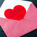 A letter with a red Valentine inside