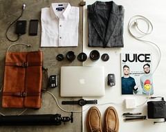 Art baggage business - Credit to https://homegets.com/ (davidstewartgets) Tags: art baggage business camera canon dapper essentials flatlay laydown leather bag macbook magazine men miscellaneous neat objects office order organized packing photographer shirts shoes sling smartphone technology
