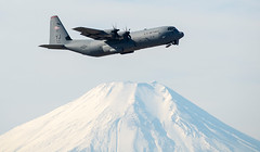 """An Air Force C-130J Super Hercules assigned to the 36th Airlift Squadron conducts a training mission over Yokota (#PACOM) Tags: yokotaairbase tokyo japan jpn usindopacificcommand """"usindopacom"""
