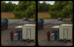 German truck stop 3-D / CrossView / Stereoscopy (Stereotron) Tags: sachsenanhalt saxonyanhalt ostfalen harz mountains gebirge ostfalia hardt hart hercynia harzgau rieder ballenstedt imbis truckstop bude parkplatz deutschland germany europe cross eye view xview crosseye pair free sidebyside sbs kreuzblick bildpaar 3d photo image stereo spatial stereophoto stereophotography stereoscopic stereoscopy stereotron threedimensional stereoview stereophotomaker photography picture raumbild twin canon eos 550d remote control synchron kitlens 1855mm 100v10f tonemapping hdr hdri raw