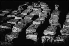 The Stone Cutters Blocks (Peter Polder) Tags: rocks cemetary australia architecture abstract bw cemetery dusk exterior evening emotion landscape monochrome mono rock sydney urban