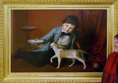 THE PAMPERED CAT (LitterART) Tags: katze chat cat perlenkette geschmückt johannbaptistreiter knabemitkatze 1860 schlossmuseum linz milch verwöhnte gemälde painting art kunst biedermeier österreich austria pampered