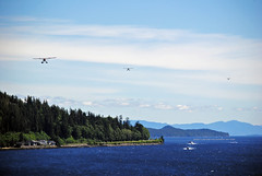 "3x Floatplanes returning from their ""flightseeing"" trips! (Infinity & Beyond Photography: Kev Cook) Tags: ketchikan alaska scenery scenic landscape views islands mountains water sea planes floatplanes aircraft cruising shoreline forest trees cruise travel photos"