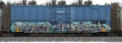 Velcro/Paser (quiet-silence) Tags: graffiti graff freight fr8 train railroad railcar art velcro paser mfk boxcar ns norfolksouthern ns473426