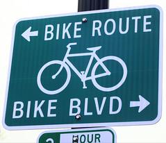 Bike Route v. Bike BLVD (earthdog) Tags: 2017 word sign bike bicycle arrow mountainview nikon coolpix s7000 nikoncoolpixs7000 text