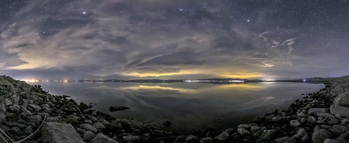 Partly Cloudy Night Under the Stars at the Salton Sea