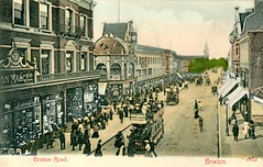 Brixton Road, London, postcard circa 1903 (The Wright Archive) Tags: brixton road london vintage postcard uk 1906 southlondon trams tram bon marché department store shop quinandaxtens stengelandco dresden lostlondon local history 1900s edwardian londonhistory 1903 cabletram