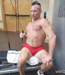 cable back rows (ddman_70) Tags: shirtless pecs abs muscle gym workout shortshorts